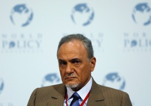 Prince al-Saud of Saudi Arabia attends a plenary session at the 1st World Policy Conference in Evian