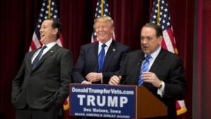 Donald Trump, Mike Huckabee, Rick Santorum
